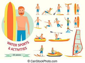 Summer water beach sports, activities set. Man windsurfing, surfing, jet water skiing, paddleboarding, tubing, parasailing, wakeboarding, kitesurfing, Vector cartoon character set flat illustration.