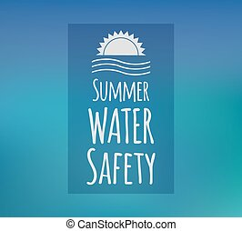 Summer water safety. Vector concept with beautiful blue background.