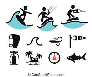 Summer water sport pictograms