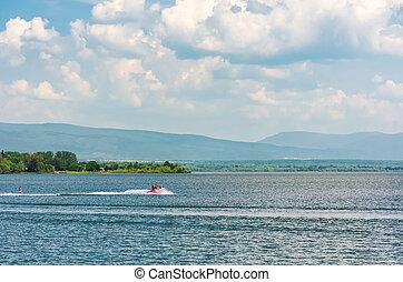 summer water sports on Zemplinska Sirava lake, Slovakia....