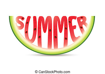 Summer Watermelon - illustration of summer word carved in...