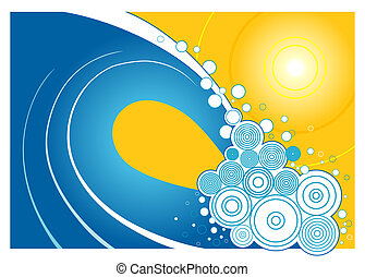 A stylized illustration of an ocean wave with a bright yellow sun behind it