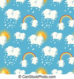 Summer weather seamless pattern with sun, clouds, rain and rainbow on blue sky backgrounds.