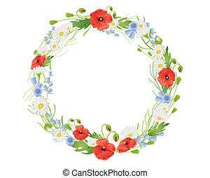 summer wildflower wreath - an illustration of a circular...