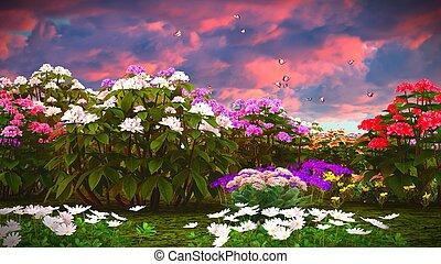 Summer wildflowers on meadow 3d rendering