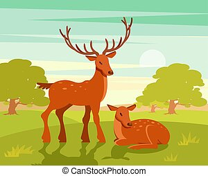 Summer wildlife landscape, couple of deers on green forest...