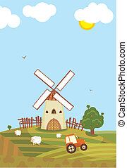 Summer Windmill - Rural landscape with windmill