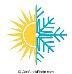 summer winter air conditioning vector