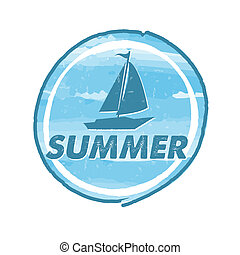 summer with blue boat, grunge drawn circle label