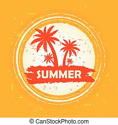 summer with palms sign, vector