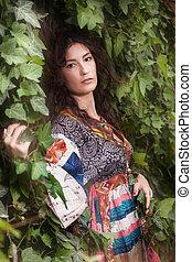 summer woman in garden