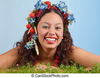 Summer woman in grass