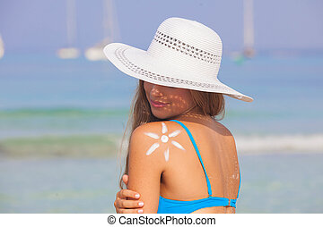 summer woman sun skin care concept
