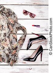 Summer womens accessories, vertical view.
