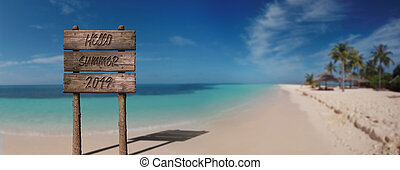 Summer Wooden Board Sign with Text, Hello Summer 2019 At Beautiful Sandy Beach Tropical Island