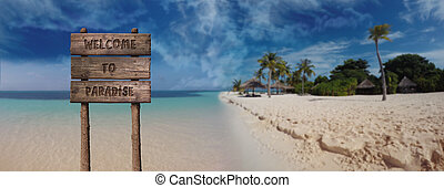 Summer Wooden Board Sign with Text, Welcome To Paradise At Beautiful Sandy Beach