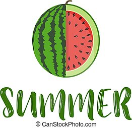 summer word with fruit, watermelon