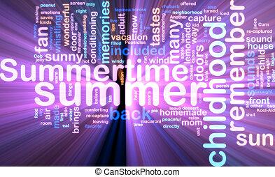 Summer wordcloud glowing