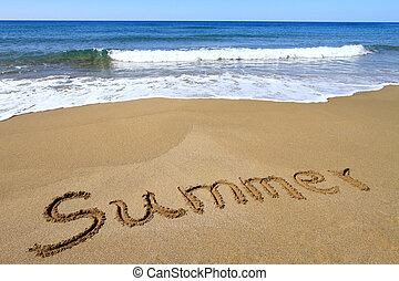 """Summer? written on golden sandy beach"