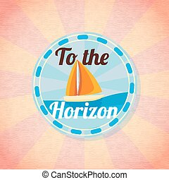 Summer yacht sailing retro background. Vector