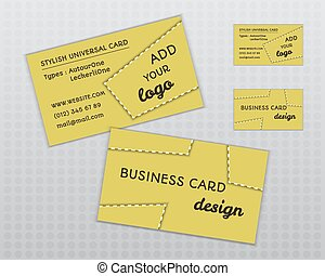 Summer yellow stylish business card and visiting template. Unusual design. Corporate identity. Isolated on grey background. Vector