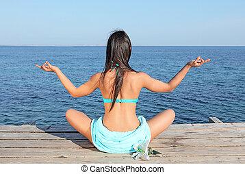 summer yoga meditation woman