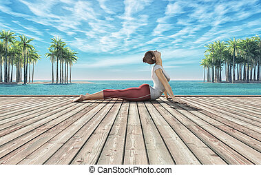 Summer yoga session - Woman doing yoga session on a wooden ...
