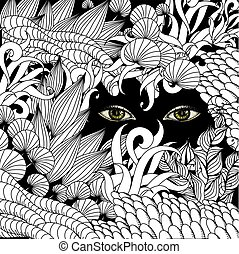 Summer zentangle floral  background and Scary eyes staring