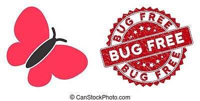 Summerbird Icon with Distress Bug Free Stamp