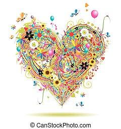 summerferie, hjärta gestalta, med, formge grundämnen