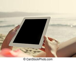 summerferier, semester, teknologi, och, internet.