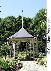 Summerhouse in Shakespeare Garden in Stratford Ontario. Old...