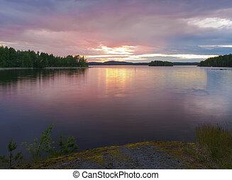 summernight, ligado, a, lago