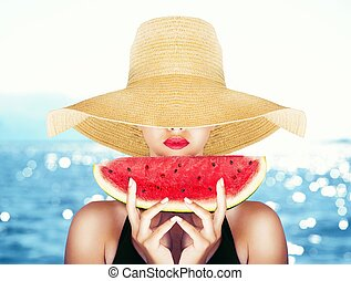 Summertime and watermelon - Fashion portrait with a sexy...
