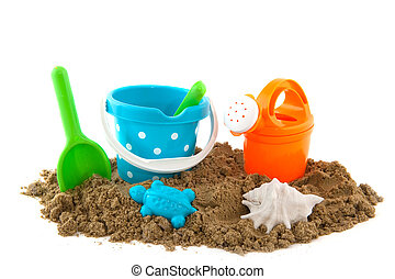 summertime at the beach with plstic toys