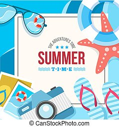 summertime background card - Vector summertime traveling...