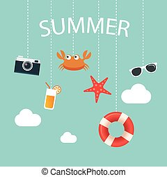 summertime background with hanging summer icon