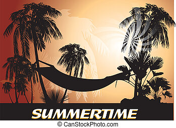 summertime, background with palm