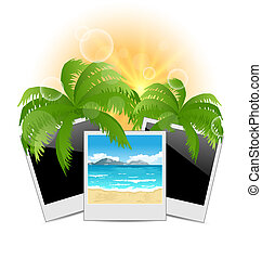Summertime background with set photo frames