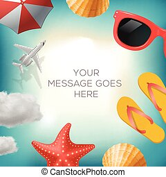 Summertime background with summer icons, airplane, sun...