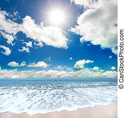 summertime beach - Paradise beach landscape with sunny sky