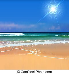 Summertime beach with bright sun blurred background.