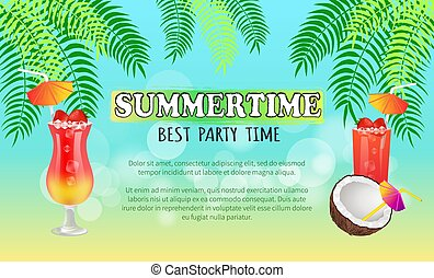 Summertime Best Party Time Vector Illustration