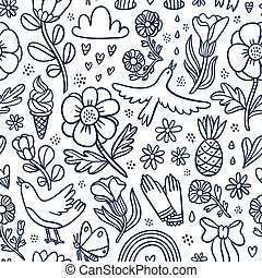 Summertime black floral seamless pattern
