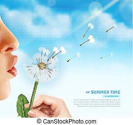Summertime Dandelion Blow Background - Realistic lips...