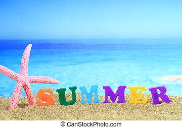 summertime., de, woord, ?summer?, op het strand