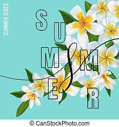 Summertime Floral Poster. Tropical Plumeria Flowers Design for Banner, Flyer, Brochure, Fabric Print. Hello Summer Watercolor Background. Vector illustration