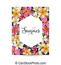 Summertime Floral Poster. Tropical Plumeria Flowers Design for Invitation, Banner, Flyer, Brochure. Hello Summer Watercolor Botanical Card. Vector illustration