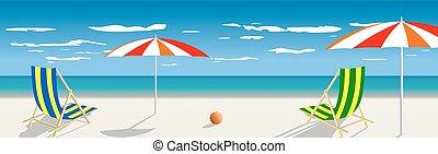 summertime, het reizen, mal, met, strand, zomer, vector,...
