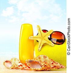 Summertime holidays background, beach objects on the sand,...